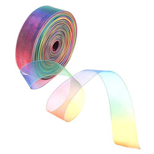 QINREN 50 Yard Organza Bänder Regenbogen Geschenkband Gradient Farben Seidenband für Haarzöpfe Dekoration, Geschenkverpackung, Hochzeit, Party, Geburtstag, Weihnachten,1Inch/2.5cm(Blau)