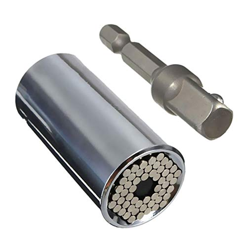 Universal Llave de Vaso, 7-19mm Multifunción Herramientas de Mano con Taladro Adaptador, Coche/Auto Destornillador de Socket Kit de Reparación de Herramientas Mejores Regalos para Hombres