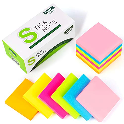 Raclox Sticky Notes Strong Self-Stick Notes Memo Post-its 6 Bright Colors,1200 Sheets List Notepads Scratch Writing Note Pads Re-Stick Notes for School Home Office - Pack of 12