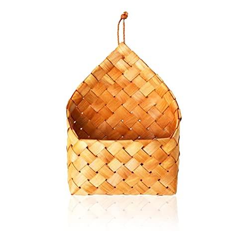 litulituhallo Cesta montada en la pared Almacenamiento colgante bambú tejido maceta