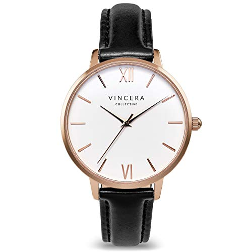 Vincero Luxury Women's Eros Wrist Watch — Rose Gold + White dial with a Coffee Leather Watch Band — 38mm Analog Watch — Japanese Quartz Movement