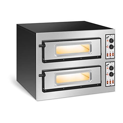 Royal Catering Forno Elettrico Professionale per Pizza Forno per Pizzeria RC-POB250GL (2 camere, 2 x Ø 45 cm)