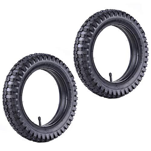 2 Satz von 12,5 x 2,75 (12-1/2 x 2,75) Heavy Duty Knobby Reifen & Innenrohr Reifen & Schlauch mit geradem Stiel Set Ersatz für Razor MX350 MX400 Dirt Rocket, X-560 Scooter Mini Pocket Bikes