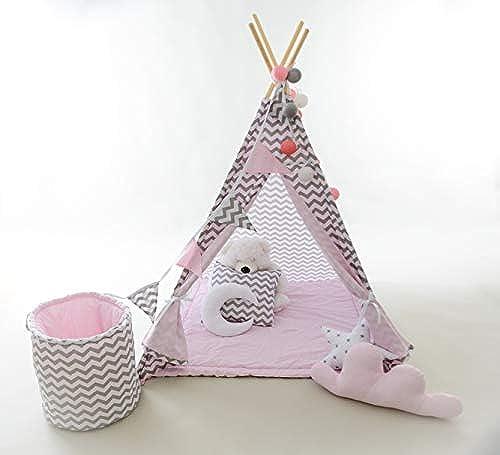 evama Tipi - Spielzelt , Kinderzelt, Wigwam, Kinderzimmerdeko Kindertipi Zelt für Drinnen und Draußen Set 7 TLG