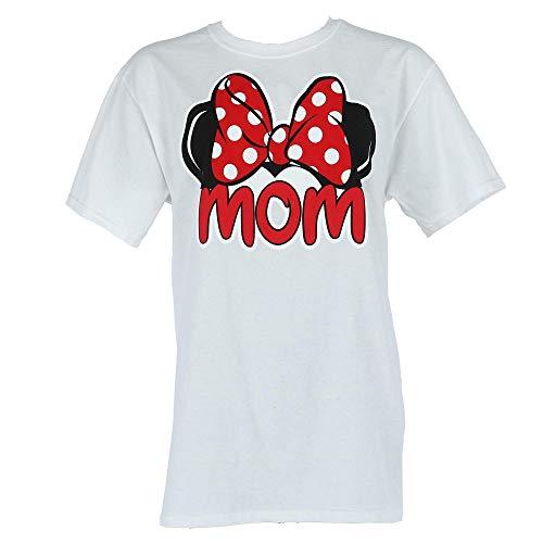 Disney Minnie Mouse Tee Women T Shirt Mom Fan Fashion Top (Medium, White)