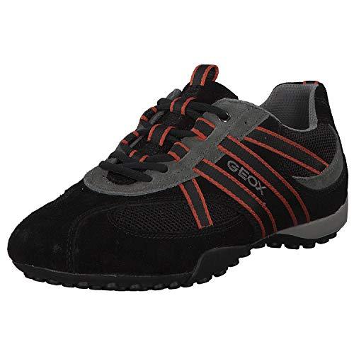 Geox U2207S Snake Sportlicher Herren Sneaker, Schnürhalbschuh, Freizeitschuh, atmungsaktiv, lose Einlegesohle, 41 EU, Schwarz Schwarz Orange