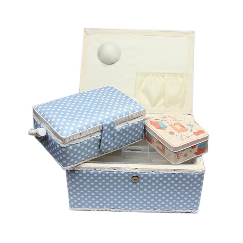 Ackermann Nähkorb-Set mit Tragegriff (1x groß und 1x mittel) + 1x kleine Accessoires-Box aus Metall (mit Zubehör), Marke Nähkorb, Nähkasten, Korb (blau weis gepunktet)