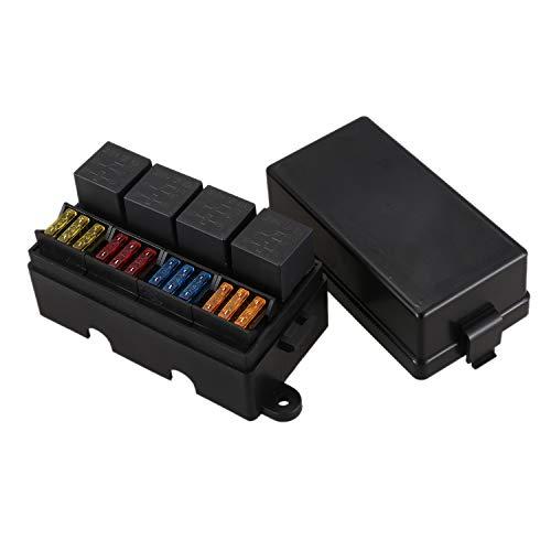 Mefeny Fusible de Cuchilla de 12 VíAs Caja de Soporte con Terminales de Pala y Fusible 4 Piezas 4 Pines 12V 40A ReléS para Remolque de Carro de AutomóVil y Barco