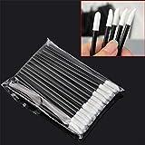 50pcs / set Cepillo de labios desechable Lápiz labial Cepillos de maquillaje Cepillo de limpieza de pestañas Aplicador de cepillo para mujeres, Blanco y negro