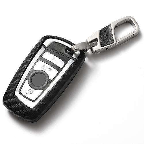 Custodia in silicone per chiave smart con telecomando QinLing con motivo in fibra di carbonio e portachiavi