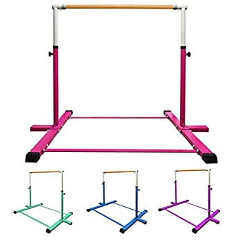 GLANT Gymnastic Kip Bar,Horizontal Bar for Kids Girls Junior,3  to 5  Adjustable Height,Home Gym Equipment,Ideal for Indoor and Home Training,1-4 Levels,300lbs Weight Capacity  Pink