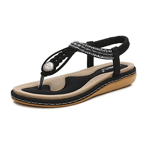 Meeshine Womens Summer Beach Flat Sandals Rhinestone Shiny Beads Slip On Flip Flops Thong Shoes(10.5 B(M) US,Black 04)