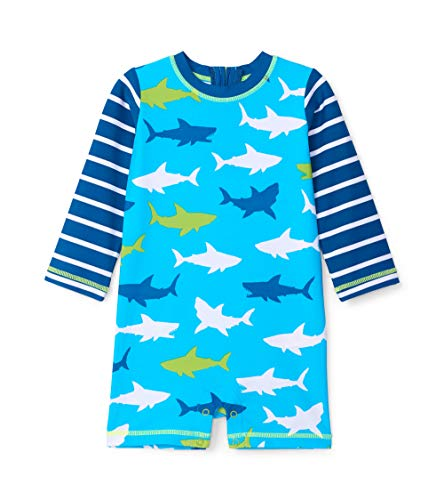 Hatley Baby-Jungen One Piece Rash Guard Swimsuits Badeanzug, Blau (White Sharks 400), 80