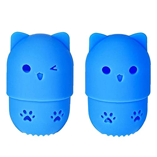 Yililay Makeup Sponge Case Silicone Portable Beauty Blender Protective Travel Case with Cute Cat Shape Reusable Washable for Home Hotel Holder Drying Rack Blue 2 PCS
