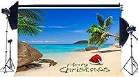 HDメリークリスマスの背景10x7ftビニールトロピカルシーサイドサンドビーチの背景サンタクロースの帽子ブルーオーシャンパームツリー夏の写真の背景ハッピーHD年2021フォトスタジオ小道具111