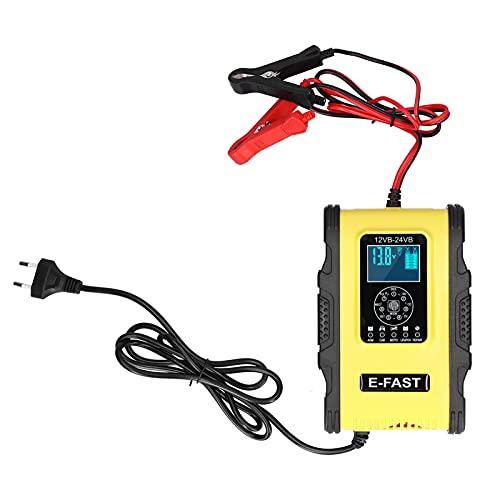 Qiilu Cargador de batería inteligente, cargador de batería inteligente 12V / 12A 24V / 6A Reparación de pulso de carga de 7 etapas para automóvil, barco, amarillo, negro, enchufe de la UE 100‑240V