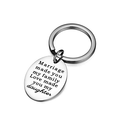 CJ&M Daughter in Law Keychain- Daughter in Law Gifts- Daughter in Law Jewelry- Perfect Gift for Daughter in Laws -Daughter of Bride Gift, Daughter of Groom Bracelet- Stepdaughter Keychain