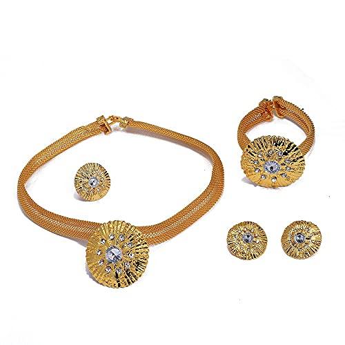 VAWAA Conjuntos de Joyas de Oro de Dubai de 24 K para Mujeres, Regalos de Piedra de circón Nupcial Africano, Collar de Fiesta, Pendientes, Anillo, Pulsera, Conjunto de Joyas