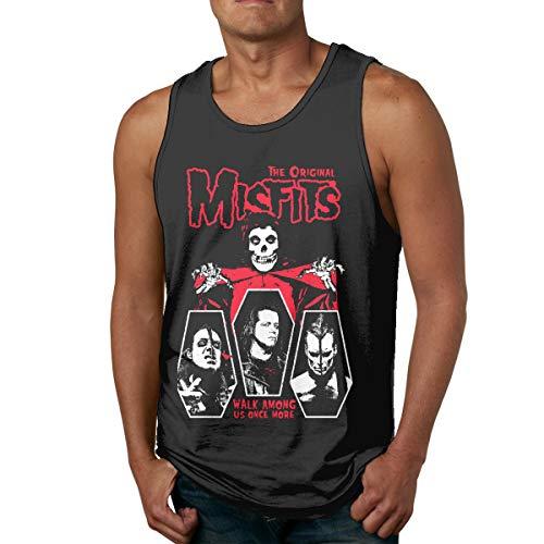 Misfits Männer Tank Top ärmellose Sport T Shirt Tees Gym(L,Schwarz)