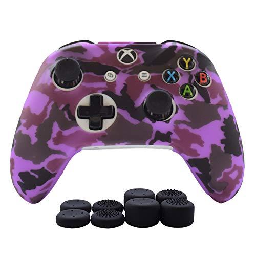 Hikfly Xbox One Controller Hülle Ärmel Haut Silikon Griff Anti-Rutsch Öl Gel Abdeckung Cover Case für Xbox One Controller (1 x Hülle +8 x Thumb Griffe)(Lila)