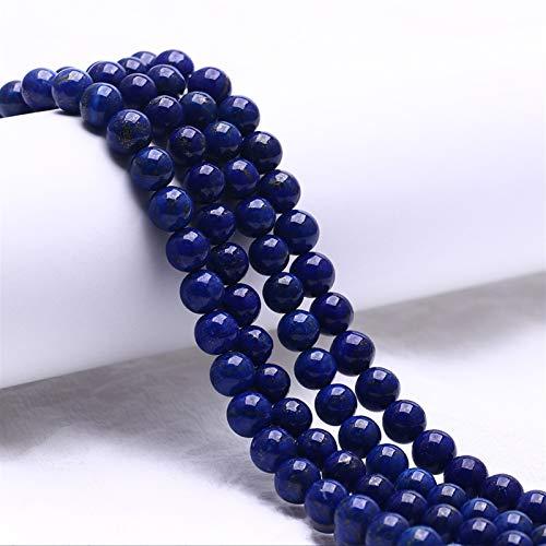 PrittUHU Lapis Lazuli Beads Piedra Natural Ronda para joyería Que Hace Bricolaje Charms Sueltos Perlas 6/8 / 10mm Tamaño Collar Pulsera (Color : Blue, Item Diameter : 6mm X 30pcs)