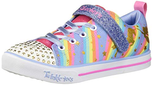 Skechers Kids Girls' Sparkle LITE-Magical Rainbows Sneaker, Light Blue/Multi, 2.5 Medium US Little Kid