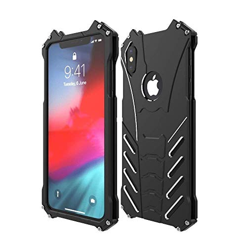 Bpowe Metal Back Case for iPhone Xs Max, Shockproof Anti-Drop Aerospace Aluminum Light Shockproof Case with bat Kickstand for Apple iPhone Xs Max 6.5inch 2018 (iPhone Xs Max 6.5inch)