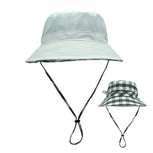 Xme Tragen Sie doppelseitige Eltern-Kind-Fischerhüte, sommerliche Sonnenschutzhüte mit großer Krempe und Karierte Kinderhüte