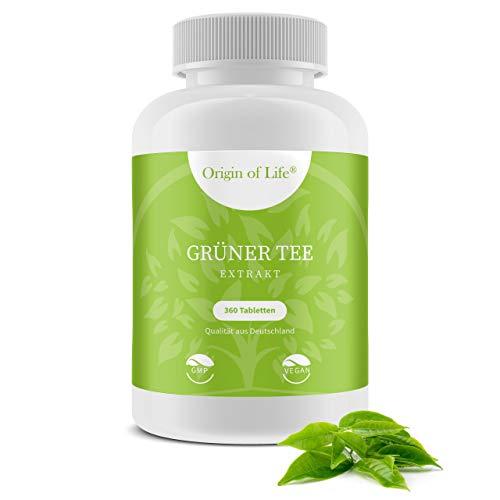 Grüner Tee Extrakt - 360 Tabletten XL Packung für 3 Monate - Vegan & Hochdosiert mit 7200mg Grüntee Pulver je Tag / Diät - Keto - Entwässerung