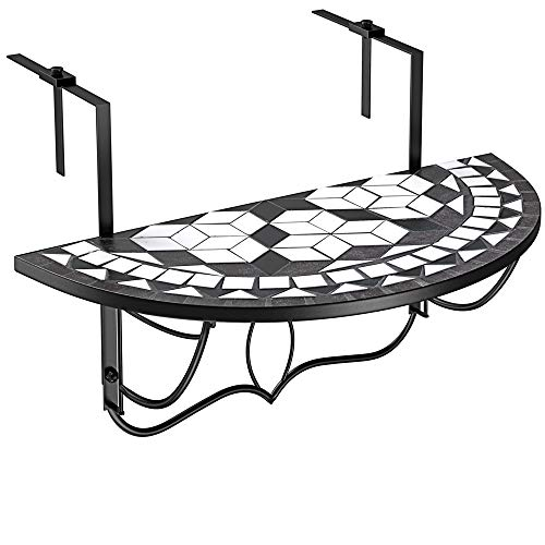 Deuba Table de Balcon Tablette Suspendue 76 x 40cm en mosaique Motif Oriental