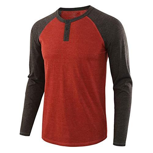 Langarmshirt Herren Knopfleiste t Shirt Herren Langarm mit Grandad-Ausschnitt Atmungsaktiv Henley Shirt Leicht Hochwertige Männershirts Basic Casual Tops XXL