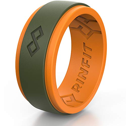 Rinfit Silicone Wedding Ring for Men. 1 or 3 Rings Pack. RinfitAir Breathable Design, Silicone Rubber. Men's Wedding Band Size 7-14 (10, Orange & Army Green)