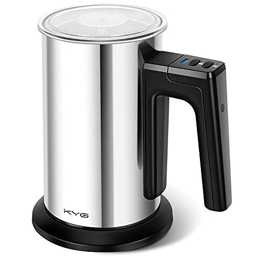 KYG Espumador de Leche Electrico Batidora de Leche 500W de Acero Inoxidable 3 modos Espuma en Caliente/Frío para Café con Leche, Latte, Capuchino