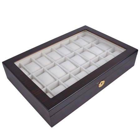 Lockable Wooden Watch Display Case Made of Ebony with Matte Stain and Glass Top: Holds 24 Watches