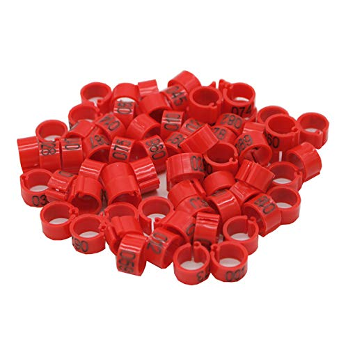 SYBH JSWFZ 100 PCS 8mm Identificar el Soporte de Anillo Pigeon Pigeon Formning Supplies Number Bands Bands (Color : Red)