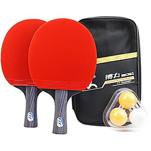 FAVOMOTO Conjunto de Raquete de Tênis de Mesa de 2 Peças Pong Pong Com 3 Bolas de Tênis de Mesa Estojo para Jogos Recreativos Profissionais Em Casa Indoor Outdoor Play Straight Grip