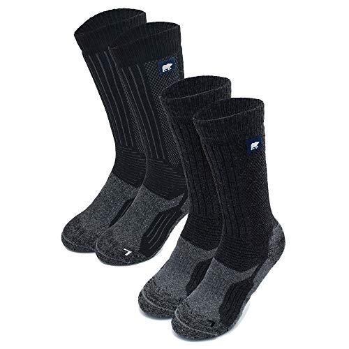 POLAR ENDURANCE Heavy 2 x Pair Pack of Outdoor Walking Socks for Men & Women, Hiking & Trekking. Heavyweight Boot Sock. (Black Dark Grey, UK 9-11 EU 43-46)