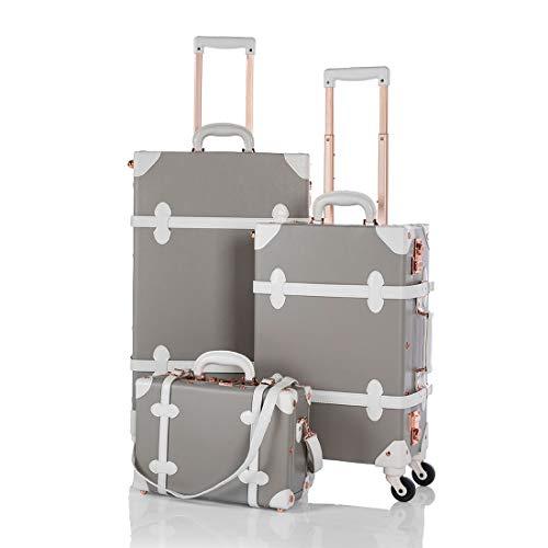 COTRUNKAGE Vintage Suitcase TSA Locks Hardside Rolling 3 Piece Luggage Set with Wheels, Light Grey