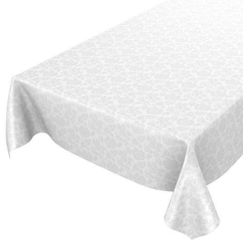 ANRO Wachstuchtischdecke Wachstuch abwaschbar Tischdecke Blumen Einfarbig Uni Weiß Reliefdruck Damast 160x140cm