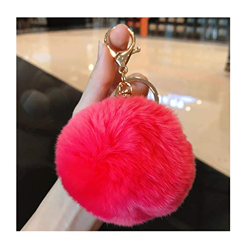 Keychain rings for crafts , Rabbit Fur Ball Keychain Fluffy Fur Keychain For Women Fur Pom Pom Key Ring,A Great Gift For Girlfriend Friend Mother Chapstick Holder Keychains ( Color : Watermelon red )