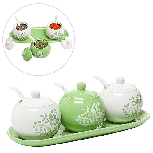Set di 3 Vasetti per Spezie / Vasi da Condimento con Cucchiaini e Vassoio,Verde Lime e Bianchi in Ceramica Motivo Albero Fiorito