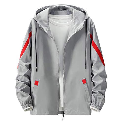 TAMALLU Herren Outwear Mode Gedruckt Casual Trend Reißverschluss Langarm Einfache Tunika(Grau,S)
