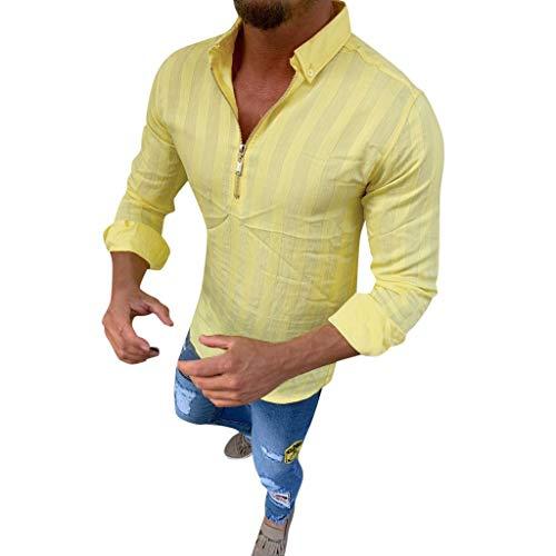 DNOQN Sport Poloshirt Herren Männer Gestreift Lange Ärmel Reißverschluss Shirts Männlich Lässig Geschäft Passen Bluse Slim Top XL