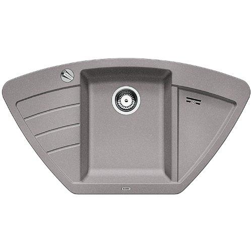 BLANCO ZIA 9 E – Eckspüle für die Küche für 90 cm Eckschränke oder 60 cm Unterschränke – grau – 514749