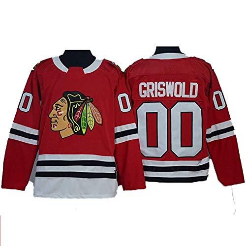 MVAH Store Griswold # 00 Chicago Blackhawks Eishockey Trikots Männer Sweatshirts Frauen Langarm T-Shirt (Color : Red, Size : L)