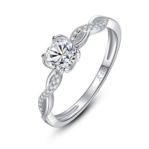 Qings Ring für Damen Verlobungsring Silber Diamantring Weißgold plattiert Ring mit Diamanten