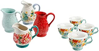 The Pioneer Woman Flea Market 10.4oz Mini Pitchers, Set of 4 bundle with The Pioneer Woman Flea Market 27oz Cup with Lid, Set of 4