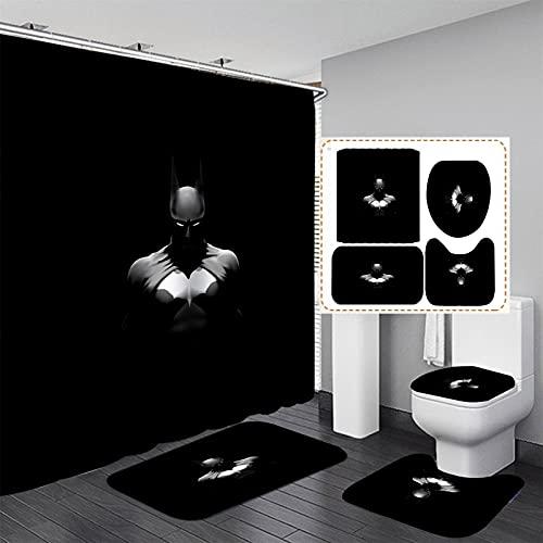 xiemengyangdeshoop Duschvorhang-Batman Wasserdicht Und Schimmelresistent Haushalt Hotel Badezimmer Produkte Vierteilige Badezimmermatte 180(B) X180(H) cm