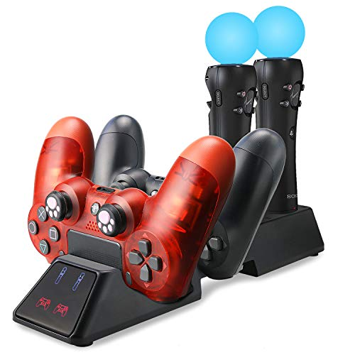 YOUSHARES Quad Charging Station for Playstation 4 Move Controllers and PS4 Move Motion Gamepad, PS4 Move Charger Dock Also Compatible with PS4 Slim and PS4 VR Pro Controller