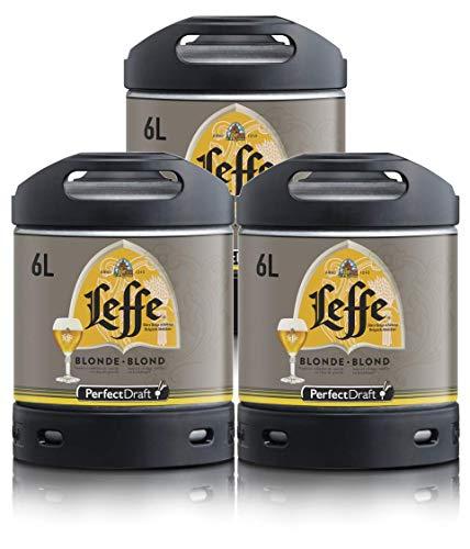 Pack de 3 barriles de cerveza PerfectDraft 6L. Grifo de cerveza en casa. Incluye un depósito de 15 euros. (Leffe Blonde)